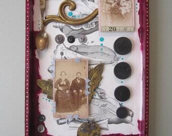 Mixed media art, assemblage, 3D art, shadow box, Frankenjunk art