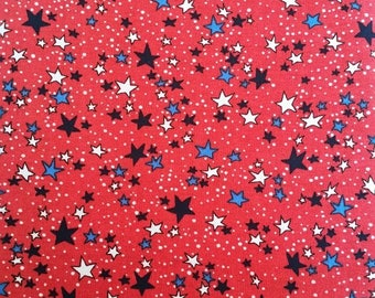 Dots and Stars on Red,Fabric, Red, White & Blue, Patriotic, 4th of July, 100% Cotton,Quilt Fabric,Apparel Fabric, Home Decor,Crafts, Yardage
