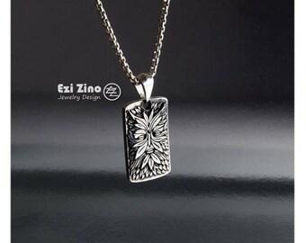 EZI ZINO green man dog tag & box chain necklace Pendant sterling silver 925