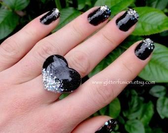 Black & Holographic Silver Glitter Splash Resin Heart Ring, Glitter Goth Dark Valentine Resin Statement Ring, GlitterFusion Unique Glam Ring