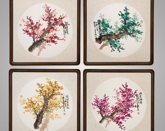Four colour cherry blossom tree original chinese painting wooden frame art flower oriental art painting set of 4 ready for hanging