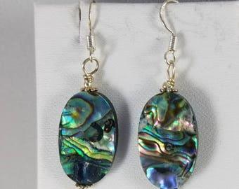 Oval paua shell, abalone,  drop earrings sterling silver ear wires