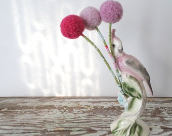 Large Pink Pom Pom Flowers - Ombre Craspedia Flowers - Alpaca Wool Felt Flowers - Blush Pink Pom Poms - Small Centerpiece - Big Round Roses