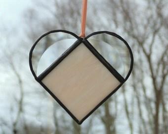 Stained glass heart, heart suncatcher, peach heart, sun catcher, glass art, beveled heart, gift for her, heart ornament, suncatcher ornament