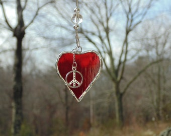 Mini heart suncatcher, peace love, stained glass heart art window decoration, heart gift under 15, small heart Mothers day gift