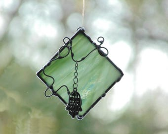 Hamsa stained glass suncatcher, silver hamsa charm, wispy green glass, hand of God, protection strength, zen ornament, om Hamsa art