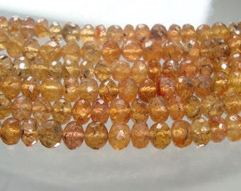 """Imperial Topaz, 1/2 strand 7"""" strand, 4-5mm Gorgeous Genuine Pink Golden Imperial Topaz Faceted Lovely Rondelle"""
