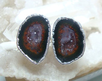 Geode Halves Silver Dipped Ear Stud, Natural Mexican Tobasco Agate Half Geode Earrings, S5