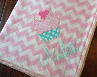 Personalized Baby Blanket- Cupcake Baby Blanket- Personalized Nursery Blanket- Chevron Blanket- Baby Blanket- Minky Baby Blanket