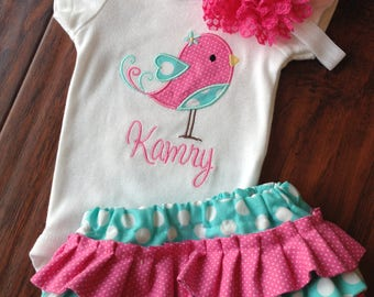 Diaper Cover Set- Personalized Bird bodysuit and Diaper Cover Set- Ruffled Diaper Cover set