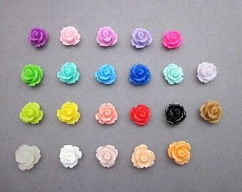 Small Resin Roses -- Sample Flower Supply -- Mini Flower Supplies -- DIY Flower Pieces -- Mini Rose Flower -- Flower Cabochons -- Multi Pack