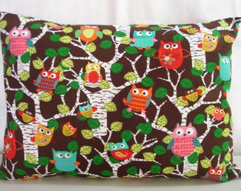 """TRAVEL Pillowcase / 12"""" X 16""""  Pillow Cover / Whimsical OWLS Pillowcase / Adult or Kids Pillow / Owls Fabric /  OwlsTravel Pillow Cover"""