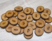 "30 Handmade plum wood Tree Branch Buttons with Bark, accessories (0,87'' diameter x 0,20"" thick)"