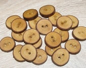 "22 Handmade plum wood Tree Branch Buttons with Bark, accessories (0,87'' diameter x 0,20"" thick)"