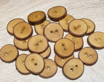 """22 Handmade plum wood Tree Branch Buttons with Bark, accessories (0,87'' diameter x 0,20"""" thick)"""