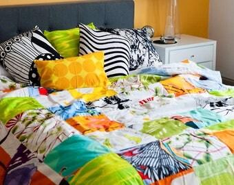 Marimekko Quilted Comforter, Handmade, Vintage and Contemporary Marimekko Fabrics