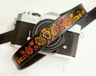 Custom Leather Camera Strap - Autumn leaves - Made to Order by Mesa Dreams - Fall colors - Maple and Oak leaf, logs, acorns