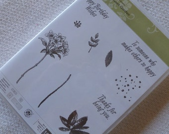 Stampin' Up! SAB Avant-Garden Brand New, Never Used Clear Stamp Set Flowers, Floral, Leaves, Happy Birthday, Thanks