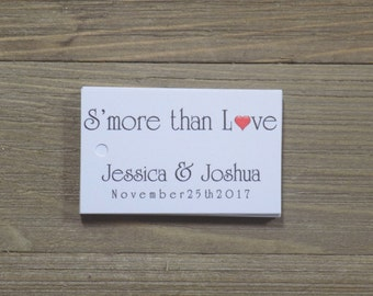 S'more than Love Favor Tags with Bride and Grooms Names and Date