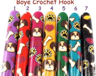 Crochet Hook, Polymer Clay Covered Boye Crochet Hooks, Crochet Hook Sizes B-N, Custom Crochet Needles, Dog Design