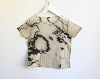 Black and Beige T-shirt in Hand Dyed Shibori Pattern - XS/S