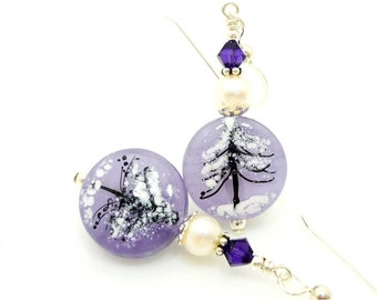Silhouette Tree Earrings, Lampwork Earrings, Glass Earrings, Glass Bead Earrings, Unique Earrings, Purple Earrings, Glass Art Earrings