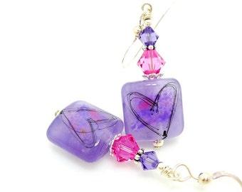 Violet Purple Pink Earrings, Lampwork Earrings, Heart Earrings, Glass Earrings, Beadwork Earrings, Valentine Jewelry, Valentine Earrings