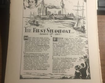 Robert Fulton First Steamboat 1933 book page history print illustration . Art frameable history