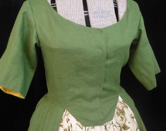 Common Woman's Linen Dress, Robe A L'Anglaise, 18th Century, size 12