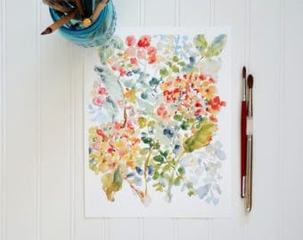 Two Hydrangeas, Watercolor Hydrangeas Fine Art Print, Wall Decor, Floral Watercolor, Hydrangeas