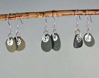 Beach stone and recycled silver, brass or bronze swirl dangle earrings