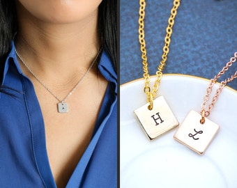SALE • Square Initial Necklace • Square Handstamped Initial Jewelry • Rose Gold Square Charm Silver  • Personalized Charm Geometric Jewelry