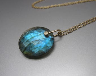 Rose Cut Labradorite Disc Drop Solid 14k Gold Necklace
