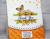 Thank You Butterfly Flowers Embossed Handmade Card