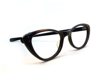 Vintage Cateye Sunglasses or Eyeglasses Black Frames / American Optical Vintage Pin Up Glasses 5 1/2