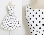 Vintage 50s Dress | vintage Beryle of CA 1950s dress | cotton pique polka dot | xs s | 5863
