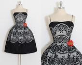 Vintage 50s Dress | 1950s  dress | black lace Kim Kory dress | xs/s | 5501
