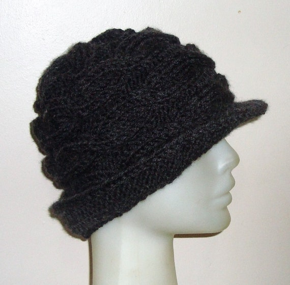 womens hat winter hat charcoal cable knit hat cloche hat