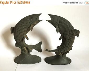 Set of 2 Vintage Painted Solid Brass Leaping Salmon / Trout Bookends