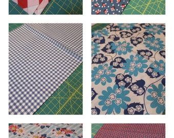 Denyse Schmidt Quilts Fabric Bundle - Picnic and Fairgrounds Collection - Red Blue and White - Floral, Plaid and Dots Matching Fabrics