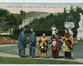 Chinese Women Sutro Heights San Francisco California 1910c postcard