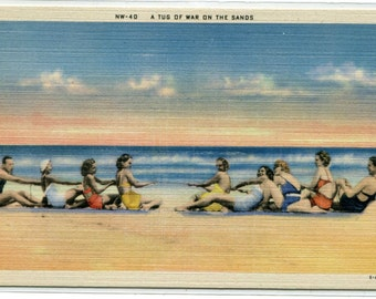 Tug of War Swimsuit Beauty Woman Bathing Beach Scene linen postcard