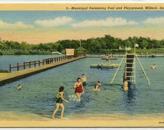 Swimming Pool Municipal Playground Milford Delaware linen postcard