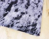 CLOSEOUT SALE Tie Dye Print Stretch Jersey Knit Fabric   Black + Gray   1 Yard   Destash