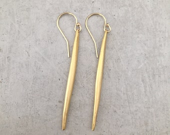 Long Gold Spike Earrings - Gold Earrings - Handmade - Dangle Earrings - 14k gold filled