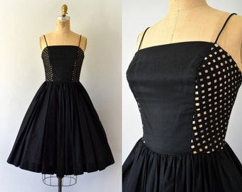 RESERVED LISTING -- 1950s Vintage Dress - 50s Black Cotton Peek-a-Boo Lattice Dress