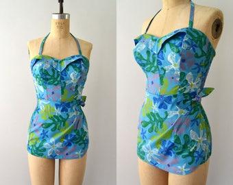 1950s Vintage Swimsuit - 50s Blue Floral Cotton Bathing Suit