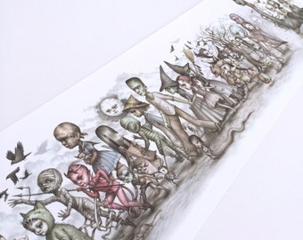 The Monsters Parade - Open Edition offset press 7x24 print by Mab Graves -unframed