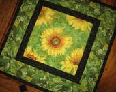 """Sunflower Summer Quilted Table Topper, 15 x 15"""" 100% cotton fabrics"""