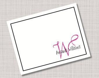 Custom Pink & Black Monogram Name Note Cards